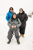 Nicole Reuben, Skylene Metatawabin, Denise Lantz (sitting) in Moosonee 2017 January 14th.