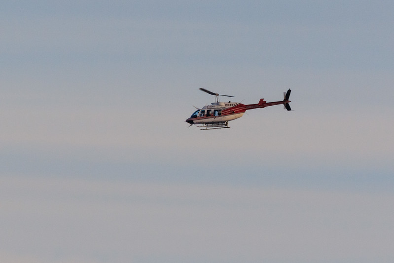 Helicopter returning to Moosonee from Moose Factory.