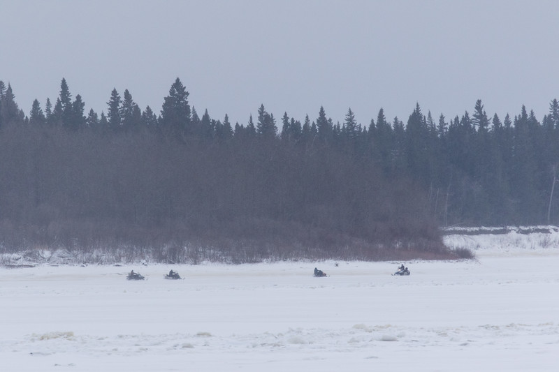 Snowmobiles near the south end of Charles Island in the Moose River at Moosonee 2017 November 25th.