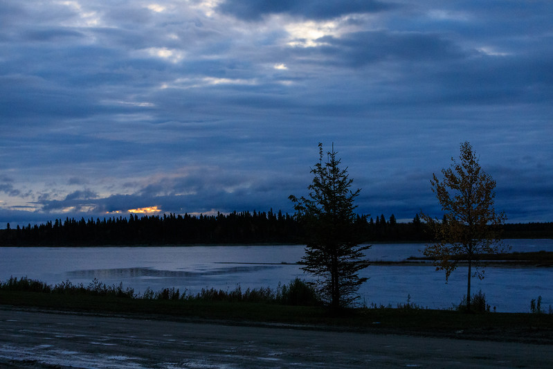 Overcast morning in Moosonee with just a hint of colour in the sky.