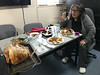 Denise Lantz eating Christmas dinner in library 2017 December 25th.
