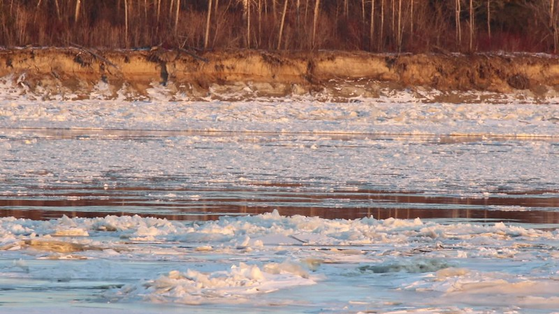 2017 November 13th. Ice flowing in front of Butler Island in the Moose River at Moosonee. Shaky video.