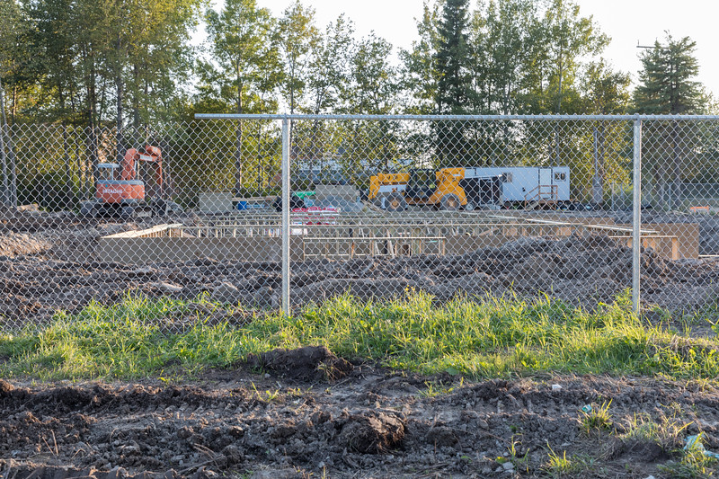 Government housing construction at Ferguson Road and Fourth Street in Moosonee.