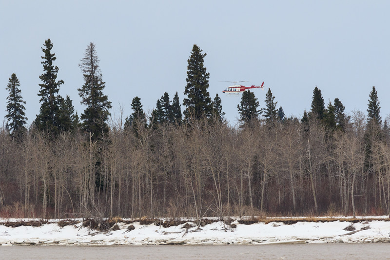 Helicopter landing in Moose Factory.