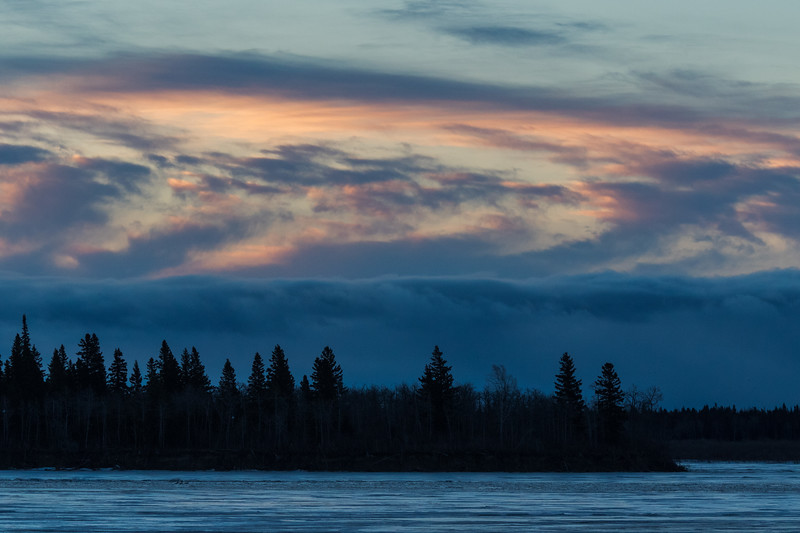 Clouds over south end of Butler Island before sunrise.