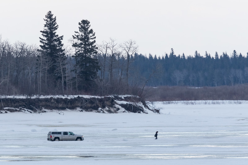 Truck and pedestrian on the Moose River on a warm afternoon. 8C near tip of Butler Island.