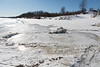 Ice and slush along the tidemark of the Moose River.