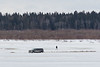 Truck on the Moose River on its way to Moosonee from Moose Factory Island 2017 April 6th. Stuck temporarily.