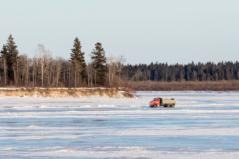 Gravel truck on the Moose River near south end of Butler Island