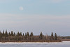 South end of Butler Island. Taken from river bank level to avoid heat distortion evident in shots taken at ice level. Faint moon in sky above.