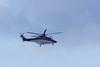 ORNGE ambulance helicopter C-GYNZ over the Moose River.