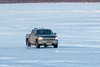 Truck on the ice of the Moose River.
