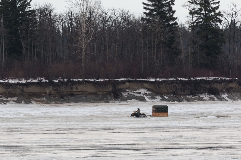 Snowmobile taxi in front of Butler Island 2017 December 5th.