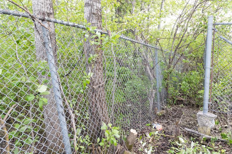 Corner of MNR fence behind Keewaytinok Native Legal Services.