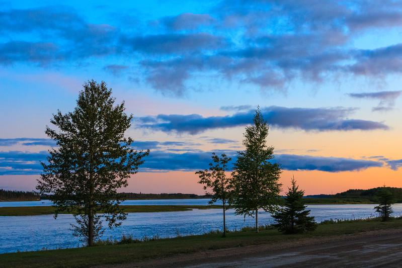Trees along the Moose River in Moosonee before sunset.