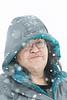 Denise Lantz in heavy snowfall.