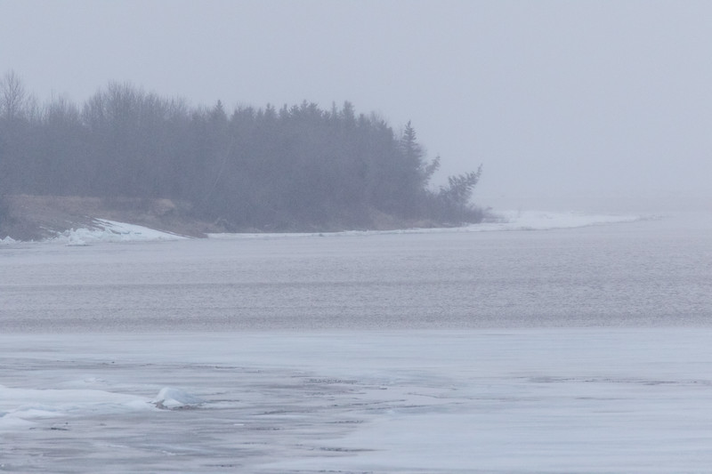 View down the Moose River towards airport. Ice sheet then open water. High tide, low visibility.