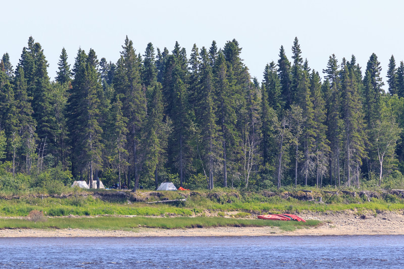 Campers and paddle canoes on Charles Island at Tidewater Park 2017 July 14th.