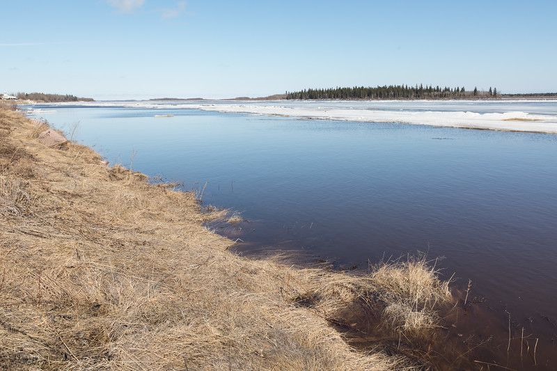 Moosonee shoreline almost bare of ice. High water.