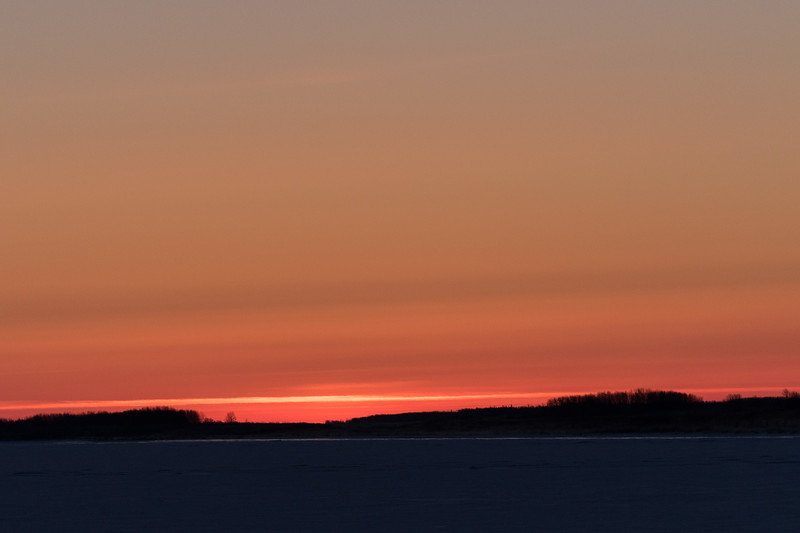 Looking down the Moose River before sunrise from Moosonee 2017 April 18th.