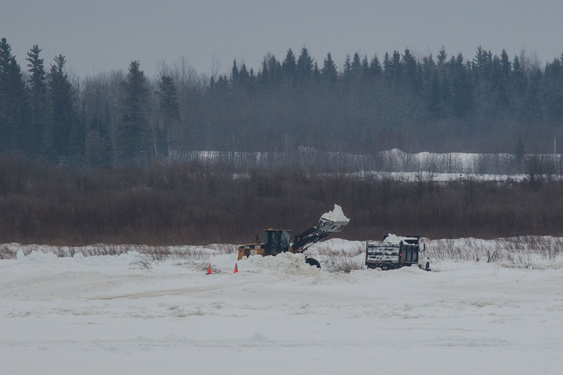 Snow clearing on the Moose River across from Moosonee 2017 January 21st.