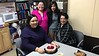 Happy 7th anniversary for Kathryn Hookimawillene at Keewaytinok Native Legal Services: Kathryn, Pauline Sackaney, Ruchi Punjabi and Mary Chakasim.