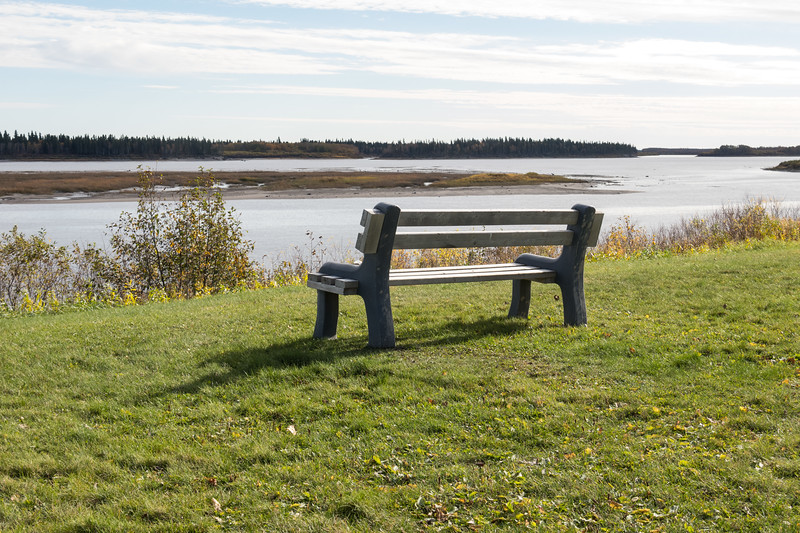 Bench above the Moose River near the Moosonee Lodge.