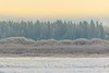 View across the Moose River from Moosonee on a misty morning.