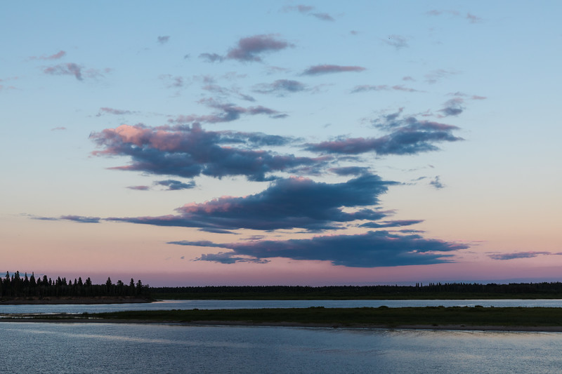 Clouds over the Moose River to the east of Moosonee around sunset.