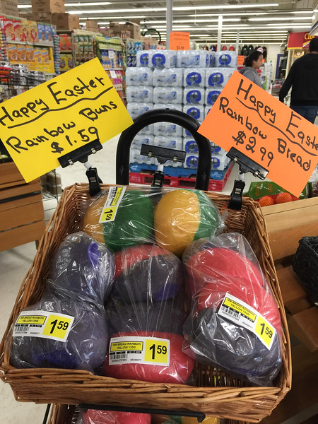 Easter Rainbow bread and buns at Northern Store in Moosonee.