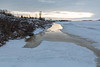 Looking down the Moose River from Two Bay docks showing water along the tidemark.