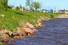 Moose River shoreline at high tide.