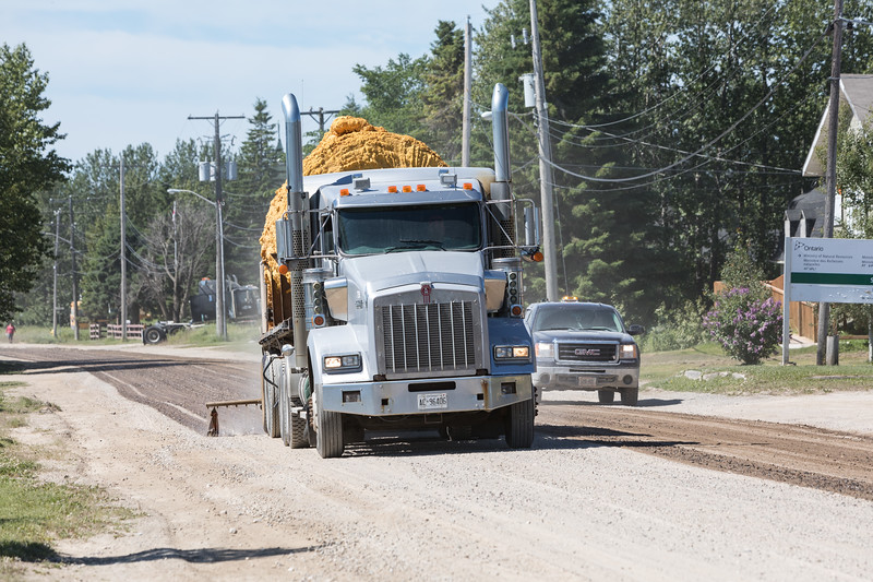 Spraying Revillon Road in Moosonee 2017 July 12th to keep the dust down.