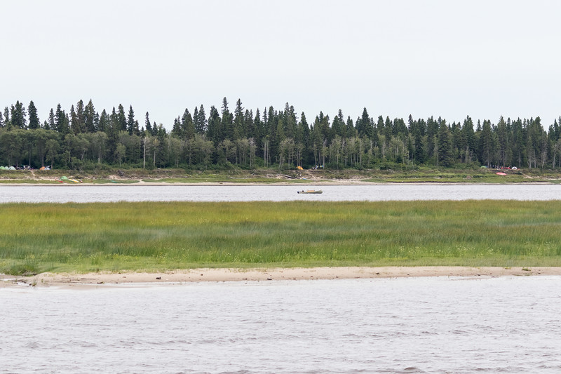 Wide view of campers on Charles Island at Tidewater Park.