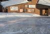 Glare ice in Ontario Government Building parking lot in Moosonee.