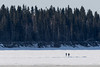 Two people walking across the Moose River to Moose Factory from Moosonee 2017 April 18th.