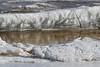 Broken ice along the tidemark.