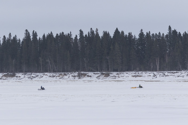 Snowmobiles in front of Butler Island 2017 November 25th.