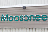 Moosonee sign at Northern with snow