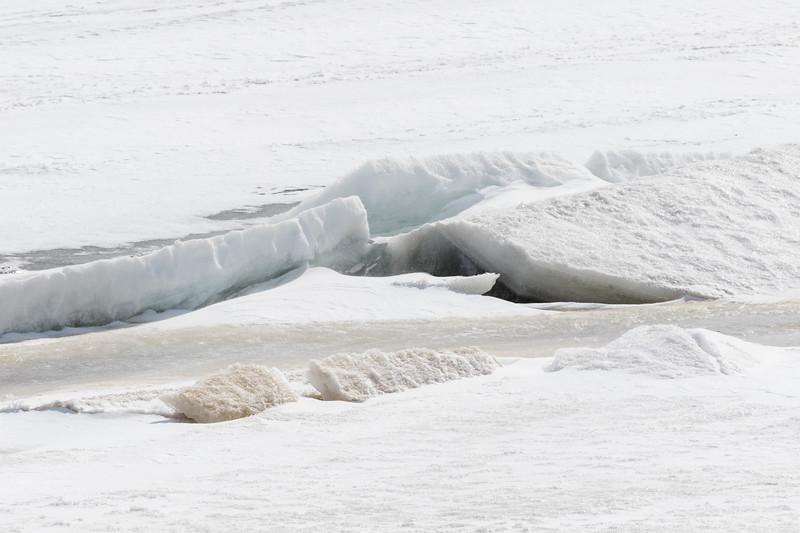 Broken ice along the tidemark of the Moose River in Moosonee 2017 April 16th.
