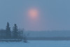 Sun fading just after rising. Across the Moose River from Moosonee 2017 March 3rd. South end of Butler Island.