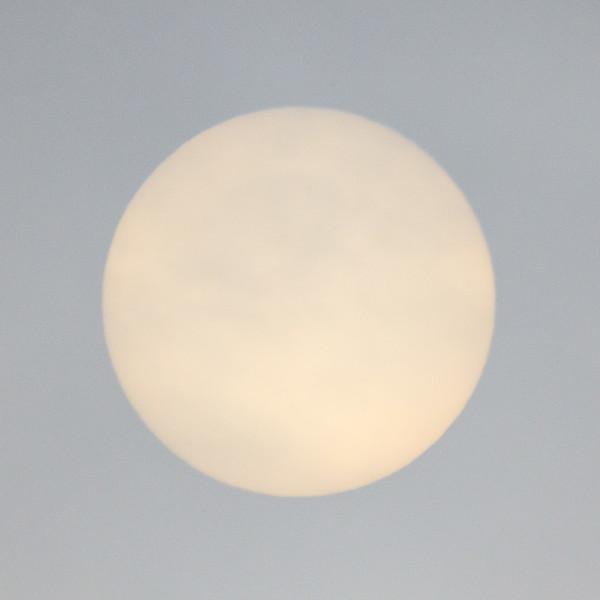 The sun on a cloudy morning in Moosonee.