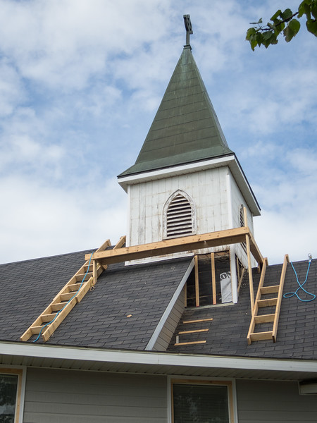 Church of the Apostles (Anglican / Episcopalian) steeple during residing. Shows scaffolding.