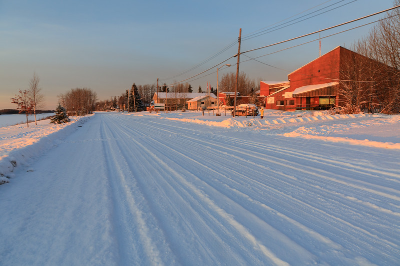 Revillon Road in Moosonee at sunrise.