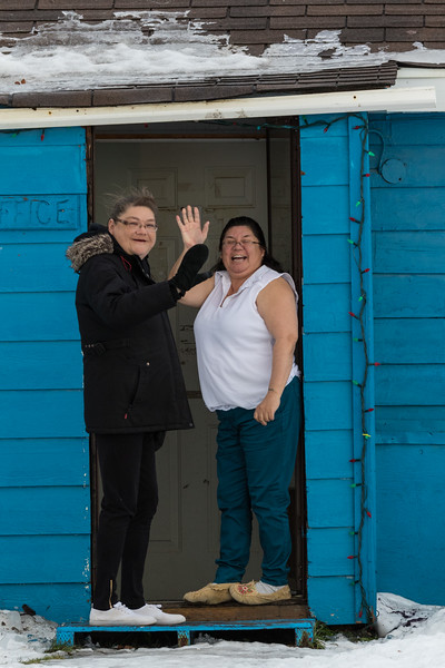 Trina Hookimaw and Pauline Sackaney in the doorway at Keewaytinok Native Legal Services 2017 December 5th.