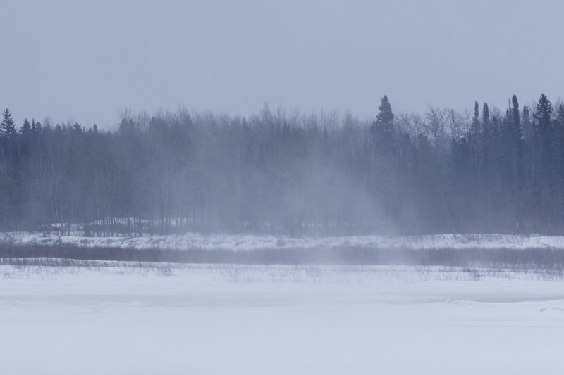 Blowing snow across the Moose River 2017 March 9th.