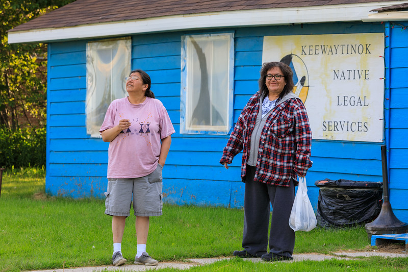 Elizabeth Kamalatisit and Denise Lantz outside Keewaytinok Native Legal Services 2017 July 10th.