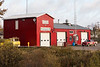 Moosonee's newly painted red firehall.