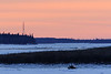 Snowmobile up the Moose River from Moosonee just before sunset 2017 November 29th.