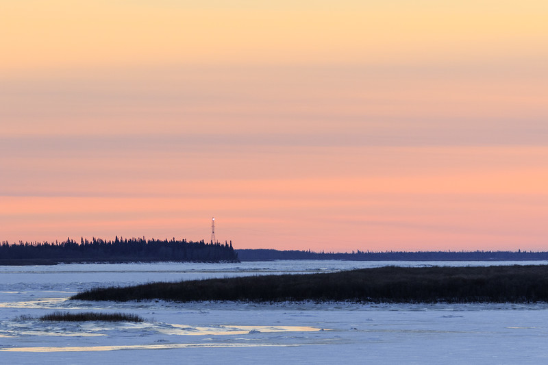 Looking up the Moose River from Moosonee just before sunset.